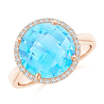 Angara Pear-Shaped Swiss Blue Topaz Cocktail Ring with Diamond Halo MafXEDcq