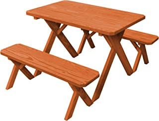 product image for Pressure Treated Pine 4 Foot Cross Leg Picnic Table with Detached Benches- Redwood Stain