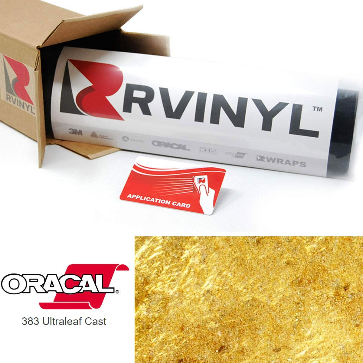 ORACAL 383 Gold 003 Ultraleaf Cast Film 2ft x 10ft W/Application Card Vinyl Film Sheet Roll - for Cricut, Silhouette Cameo, Craft and Sign Cutters