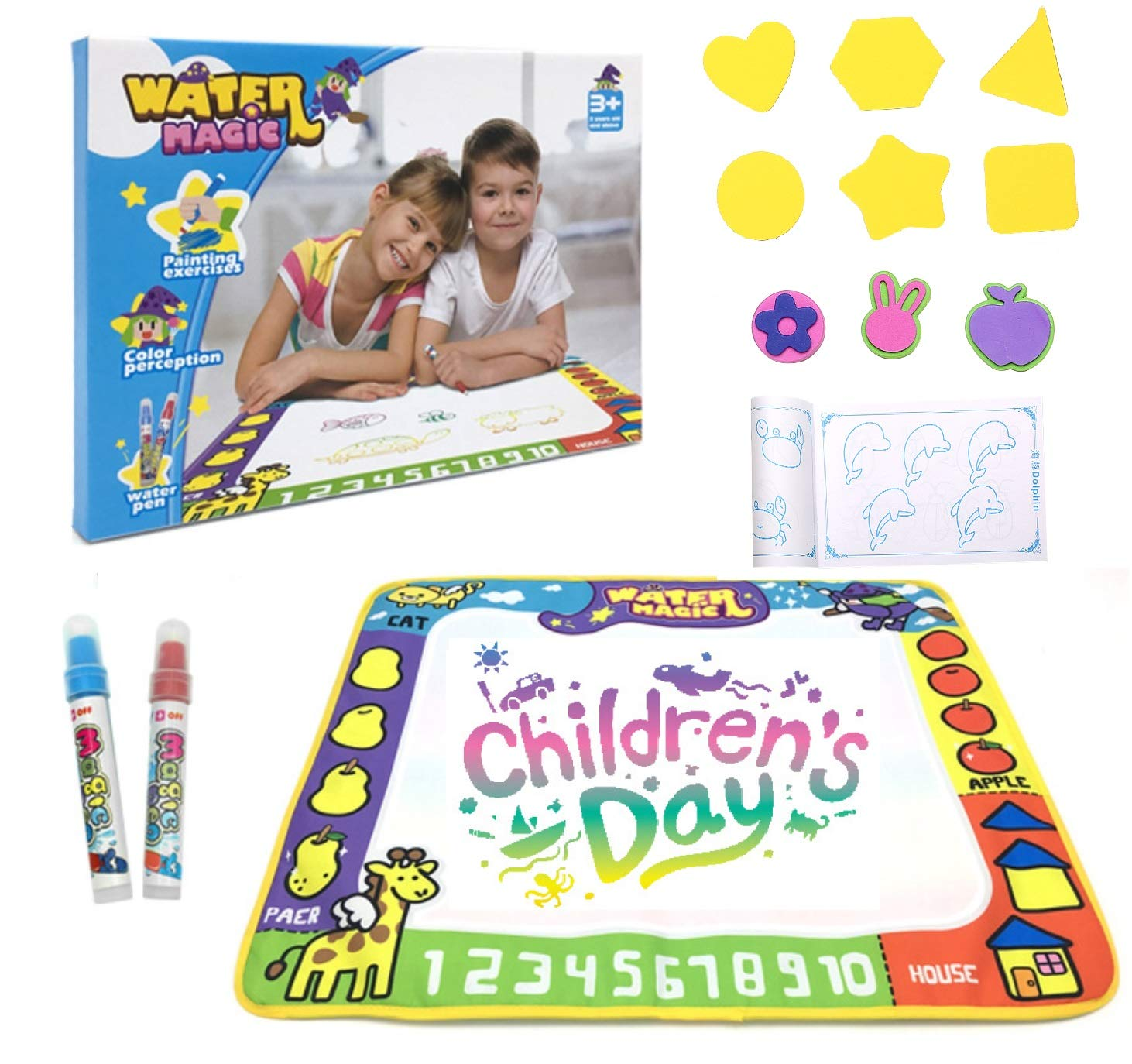 Markbetter Aqua Doodle Mat Reusable Water-Reveal Activity Pad Water Coloring Aqua Drawing Painting Toy for Kids with Two Pen&Gift Set (Two Pens)