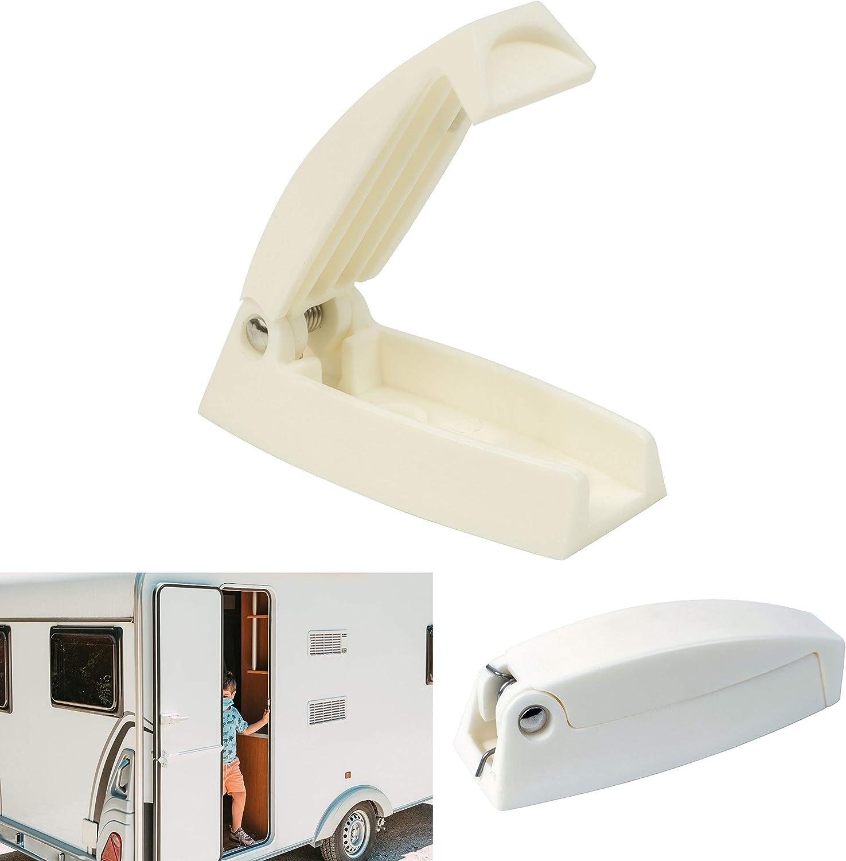 Türfeststeller für Wohnwagen und Wohnmobil, 9 mm Lochabstand, Türschloss  weiß, Türhalter Serviceklappe und Stauraum-Tür, Türschnapper Wohnwagen,