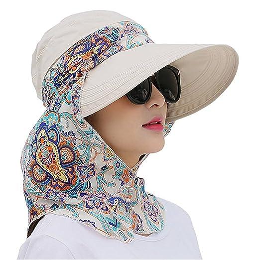cf80e955823 MOWANG Roll up Wide Brim Sun Visor UPF 50+ UV Protection Sun Hat with Neck