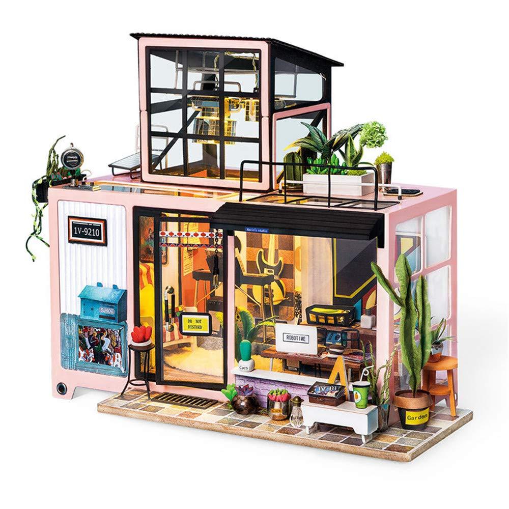 DIY Loft mit Möbel Kinder Erwachsene Miniatur Hölzernes Puppenhaus Modellbausätze Puppenhaus Spielzeug Kevin studio