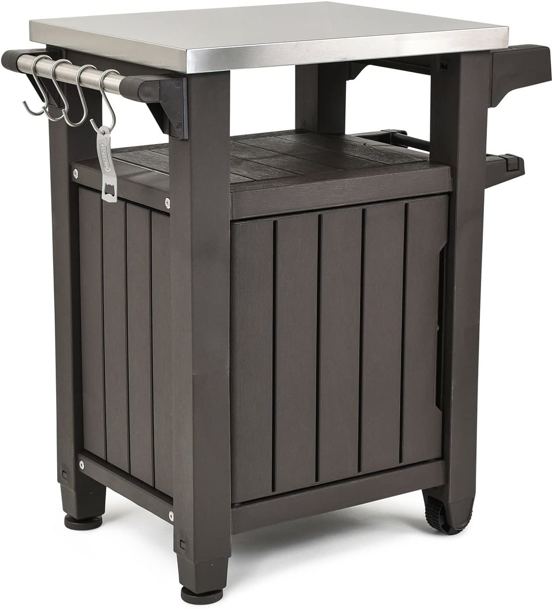 Amazon Com Keter Unity Portable Outdoor Table And Storage Cabinet With Hooks For Grill Accessories Stainless Steel Top For Patio Kitchen Island Or Bar Cart Espresso Brown Garden Outdoor