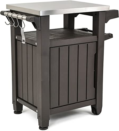 S.T.L BBQ Prep Table Entertainment Outside XL with Storage Grill Espresso Brown Outdoor Metal Top Indoor Portable and Ebook by Maria BARDAKI