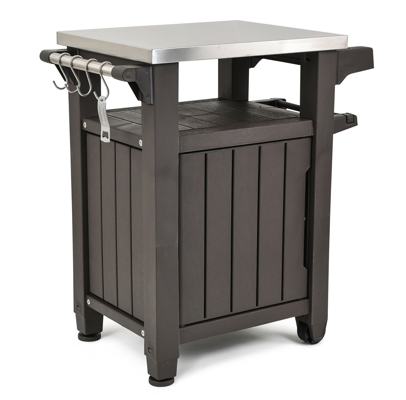 Keter Unity Indoor Outdoor BBQ Entertainment Storage Table/Prep Station with Metal Top, Brown by Keter