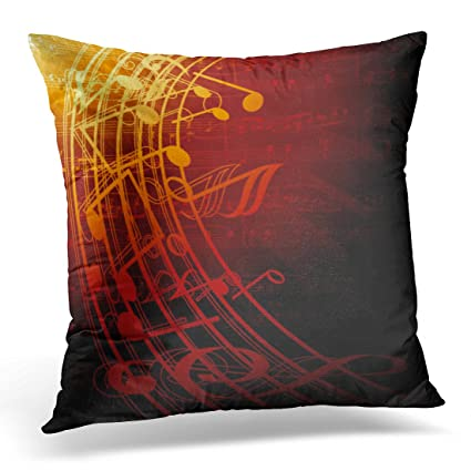 Amazon UPOOS Throw Pillow Cover Red Music Musical Notes Brown Cool Red And Brown Decorative Pillows