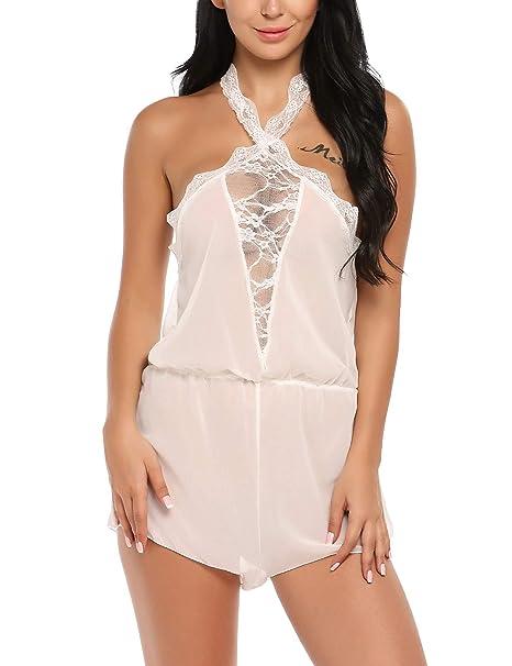 Lonlier Lencería Body Ropa Interior Mujer Encaje Transparente Blanco