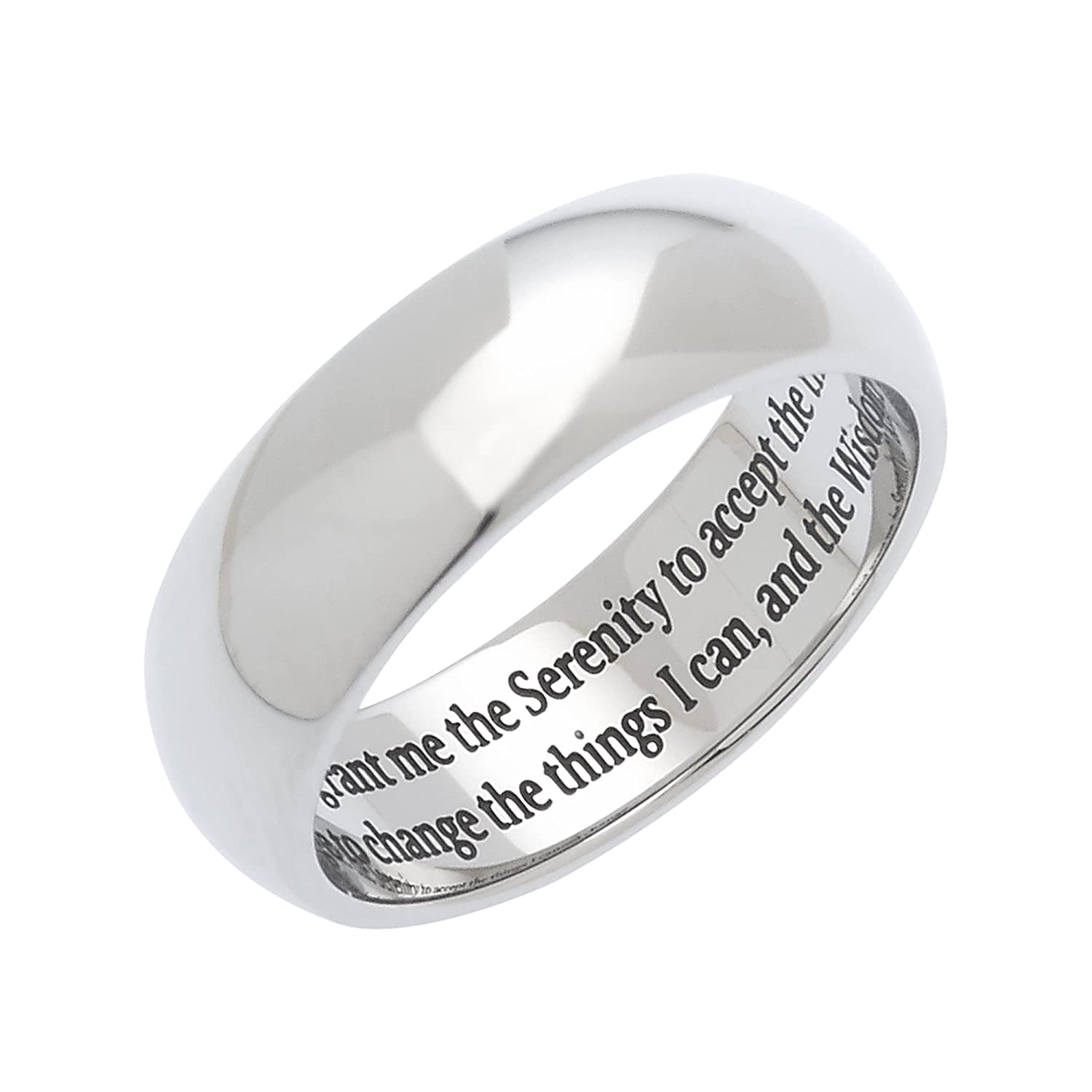Stainless Steel Mens and Womens Serenity Prayer Ring Amazon