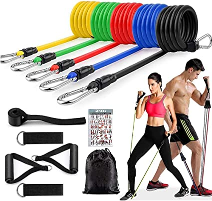 FAHZON 12 PCS Resistance Bands Set Door Anchor with Handles Exercise Bands Men Women Ankle Straps for Fitness,Training,Physical Therapy,Home Workouts Bands