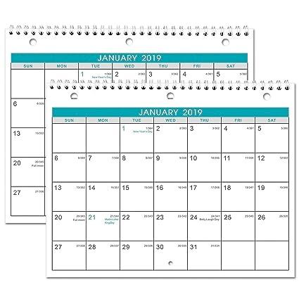 2019 Calendar With Julian Dates Amazon.: 2019 Calendar   2 Pack Monthly Wall/Desk Calendar