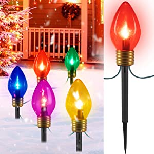Jumbo C9 Christmas Lights Outdoor Decorations Lawn with Pathway Marker Stakes, 6 Ft. C7 String Lights Covered Jumbo Multicolored Light Bulb, for Holiday Time Outside Yard Garden Decor, 5 Lights