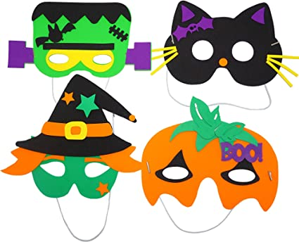 4e S Novelty Halloween Crafts For Kids 12 Self Adhesive Mask Foam Craft Kit 4 Styles School Home Group Activities Party Supplies Classroom Arts Crafts Clothing