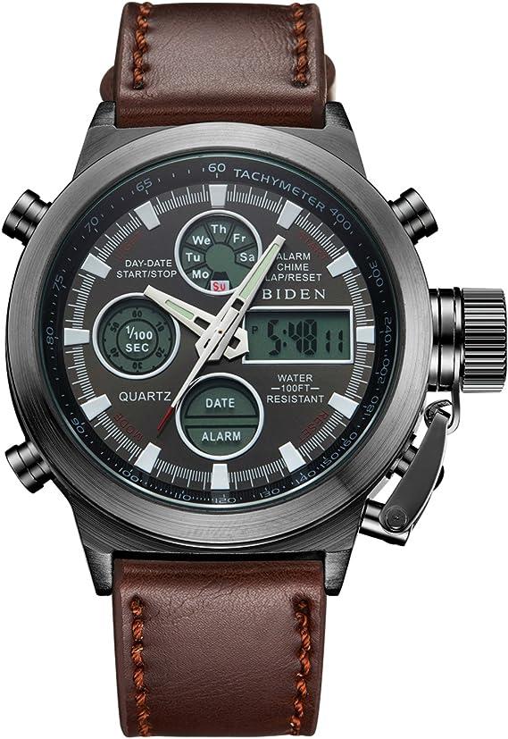 Relojes Deportivos para Hombres Reloj de Pulsera Digital Militar Resistente al Agua para Hombre Relojes Casuales Multifuncionales del Cronómetro de la Alarma de Los Señores LED