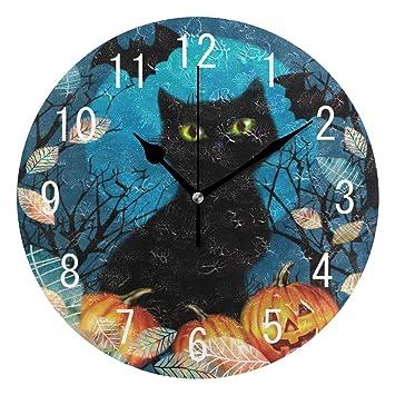 Use7 Home Decor Halloween Gato Gato Gato Calabaza otoño Hojas Redondo acrílico Reloj de Pared no Rasgado silencioso Reloj Arte para Sala de Estar Cocina ...