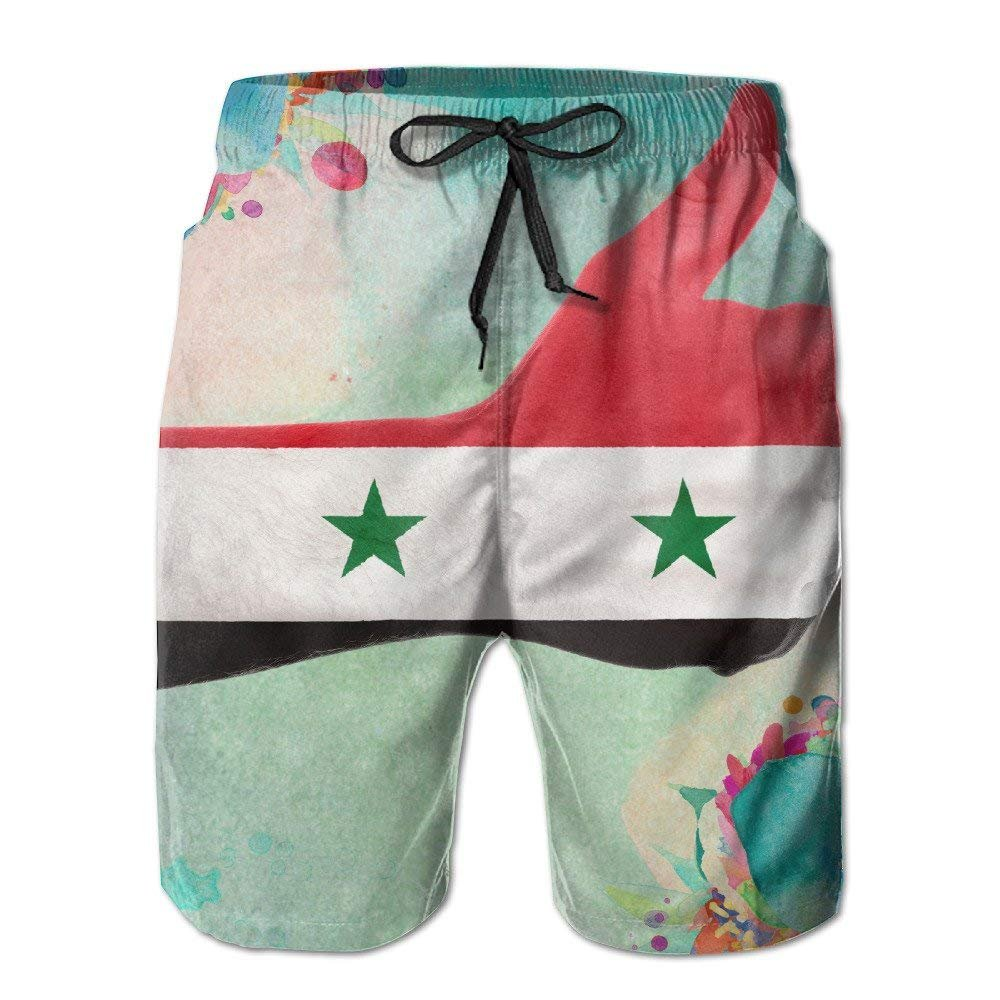 Beach Shorts Mens Syria Flag and A Thumb Syria is Fine Summer Quick-Drying Swim Trunks Cargo Shorts X-Large