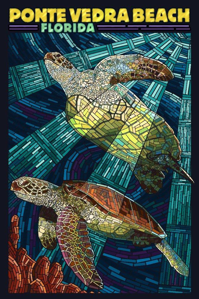 Ponte Vedra、フロリダ州 – Sea Turtleモザイク 36 x 54 Giclee Print LANT-80779-36x54 36 x 54 Giclee Print  B071W7SF8Q