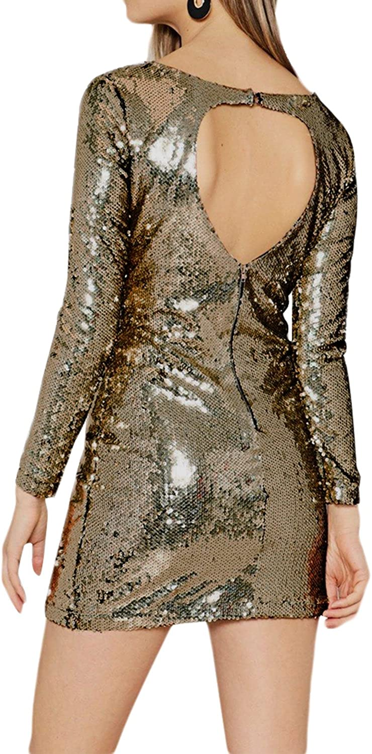 Spirio Womens Club Cut Out Sequins Sleeveless Casual Open Back Romper Jumpsuits