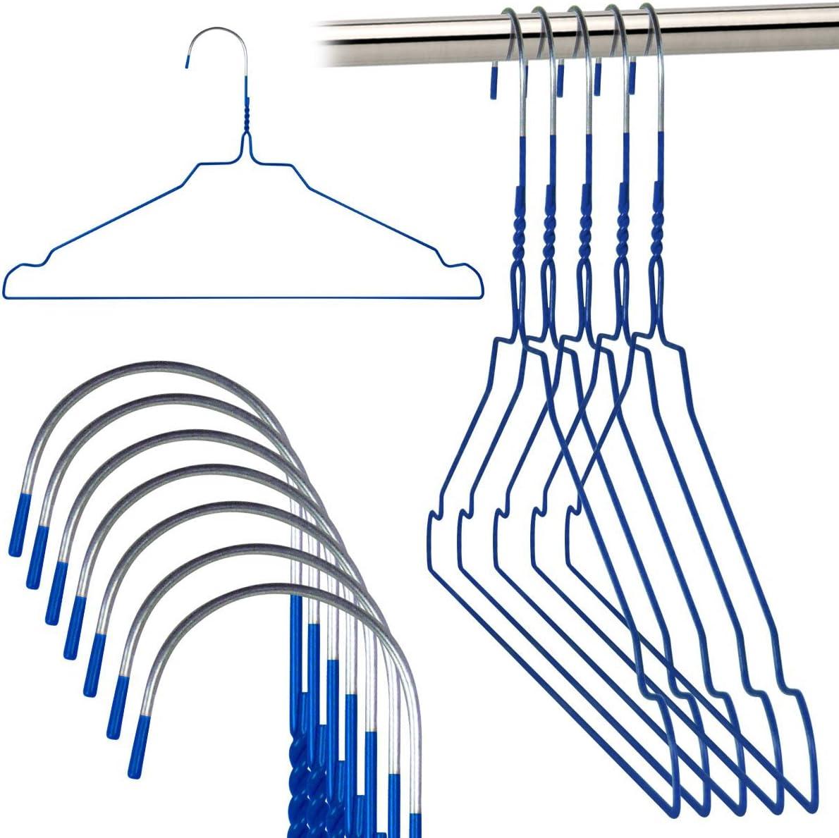 Hangerworld 20 Perchas 40cm Metal Azul Galvanizado Ahorra Espacio Camisas Muescas para Tirantes
