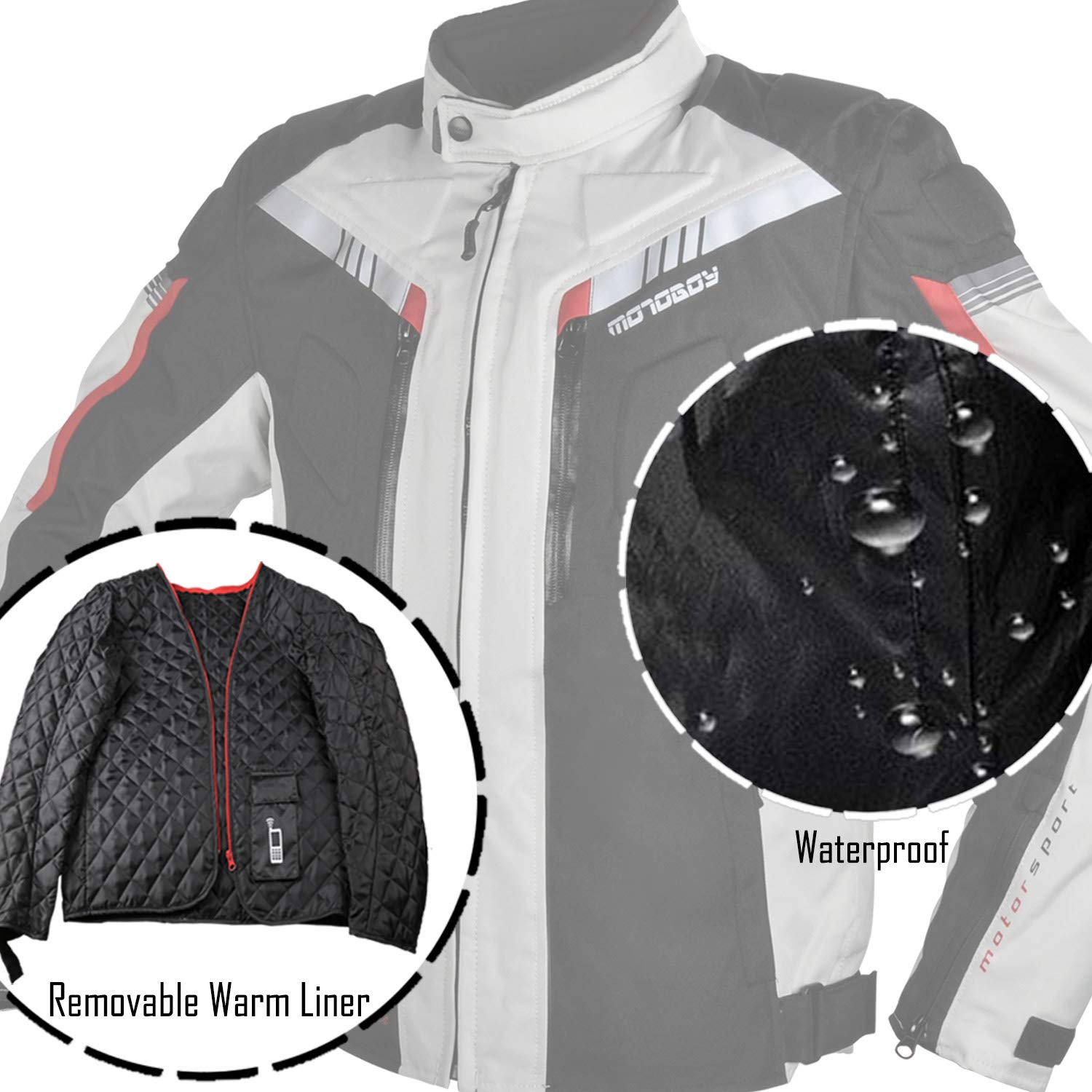 All Seasons Waterproof Motorcycle Riding Jacket,Removable CE Armored Hi-Vis Reflective Thermal Motorbike Jacket for Men L, Black