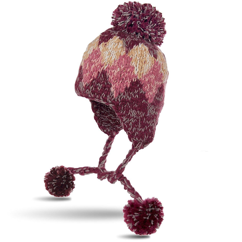 CASPAR Damen Winter Beanie Mütze / Fliegermütze / Strickmütze mit Ohrenklappen und grossem Bommel - weinrot / rosa