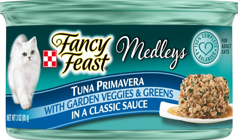 Purina 30 Cans of Fancy Feast Medleys Tuna Primavera Canned Cat Food, 3-oz, ea