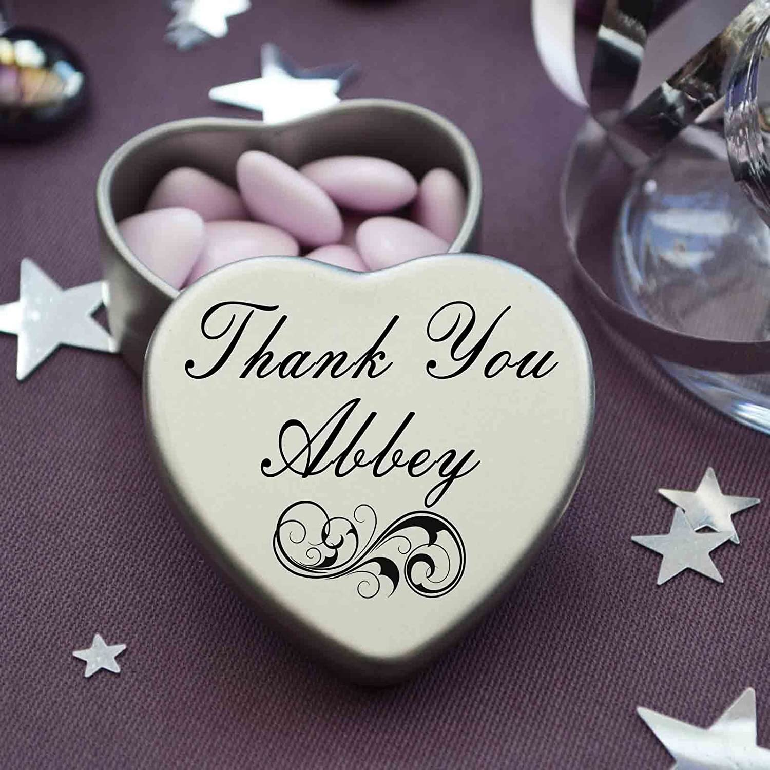 Tin Measurements 45mmx45mmx20mm Perfect Way to Say Thank You Abbey With A Mini Heart Tin Gift Present with Chocolates Makes a beaufiful Gift or Present to show your Thanks Fits Beautifully in the palm of your hand