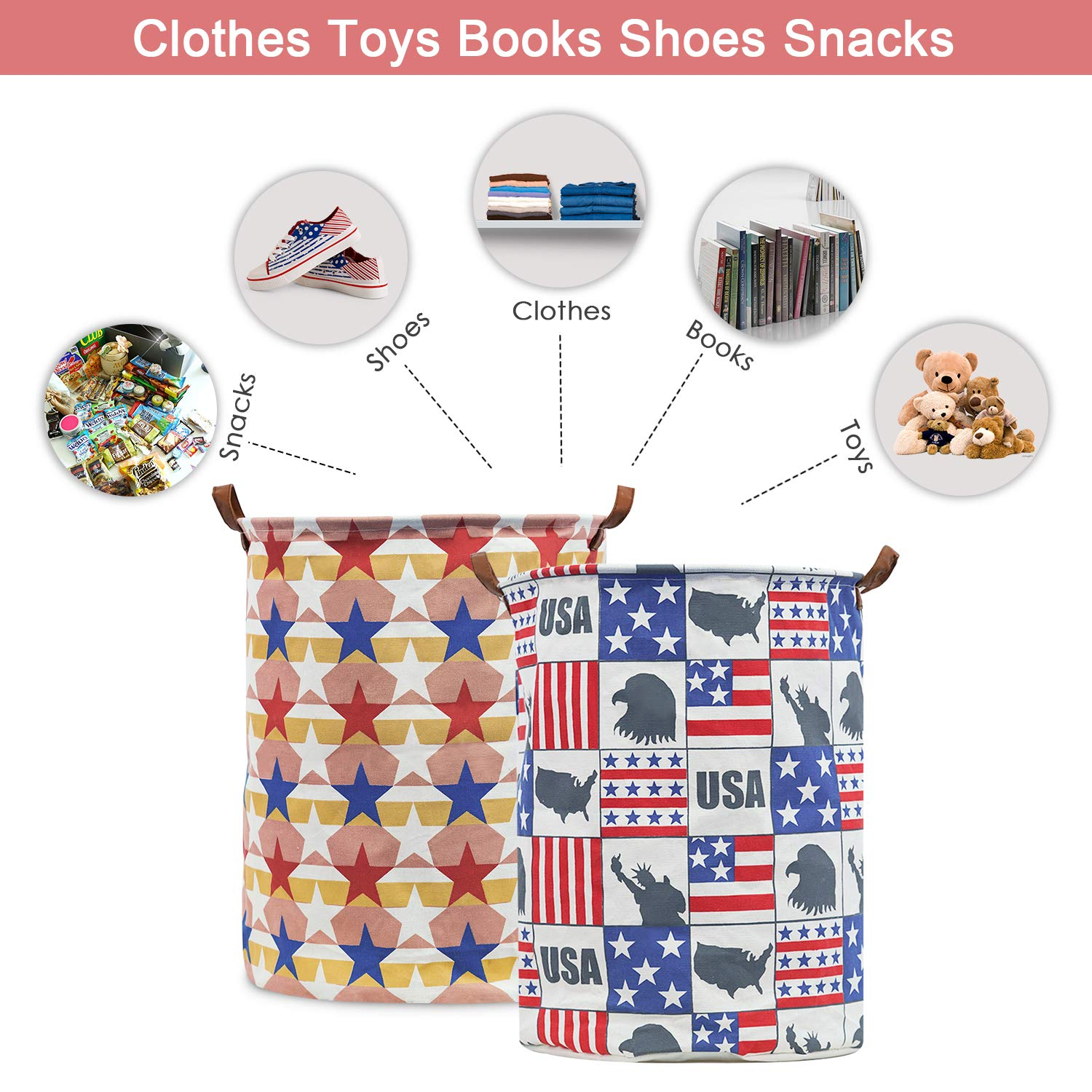 Collapsible Waterproof Laundry Hamper,Canvas Organizer Bin for Kids Toys Homipooty Storage Bins,19.6 /″ Large Laundry Baskets-2 Packs Clothes Baby Hamper Star and Flag Bedroom Home,Gift Baskets