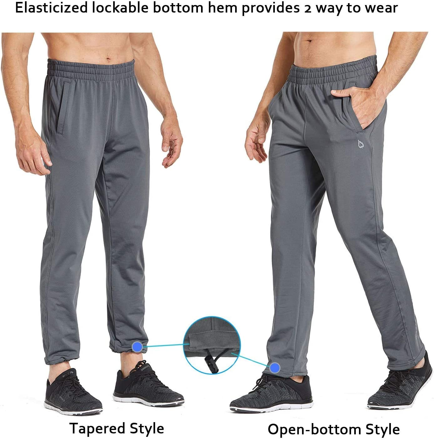 BALEAF Mens Fleece Joggers Running Sports Athletic Pants Pocketed Sweatpants Open-Bottom//Tapered