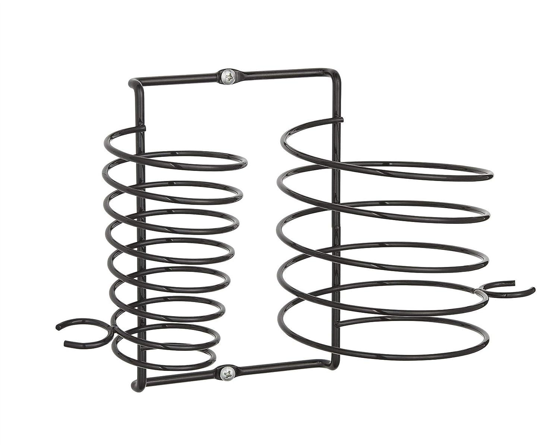 Supporto in metallo nero per phon e piastra mantiene i cavi in ordine