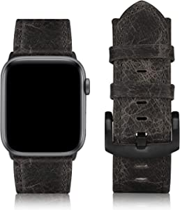 Bandiction Leather Band Compatible with Apple Watch Series 3 42mm Band Series 5 44mm Band, Genuine Leather iWatch Bands 42mm 44mm Women Men Compatible for Apple Watch Bands Series 6 SE 5 4 3 2 1