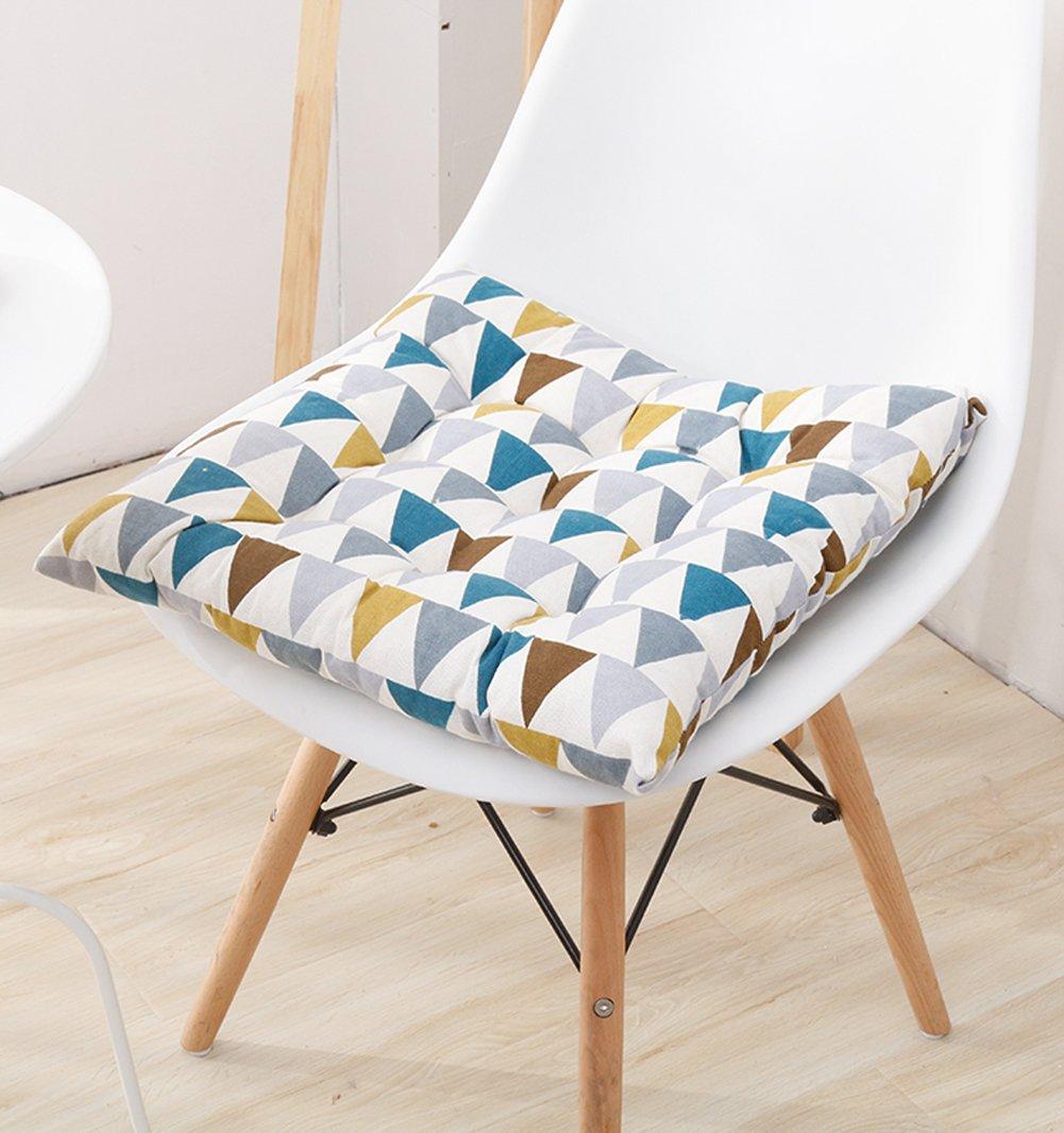 リネン椅子クッションダイニング椅子クッション秋オフィスチェアクッション椅子パッドwith Ties 15.5-inch x 15.5-inch x 3-inch ブルー chair pad  ブルー B075SK27MB
