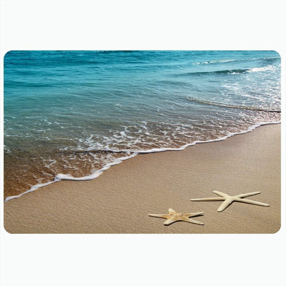Ahawoso Bath Rug for Bathroom Non Slip Mats 16x24 Inches Starfish Ocean Season Space Wave On Beach Sand Nature Scene Textures Travel Scenery Tourism Star Plush Decor Doormat Non Slip Backing Mat