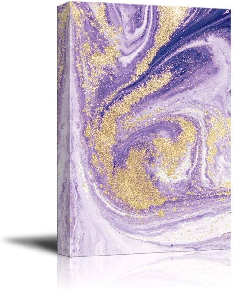 wall26 - Canvas Wall Art - Purple Gold Waves - Giclee Print Gallery Wrap Modern Home Art Ready to Hang - 16x24 inches