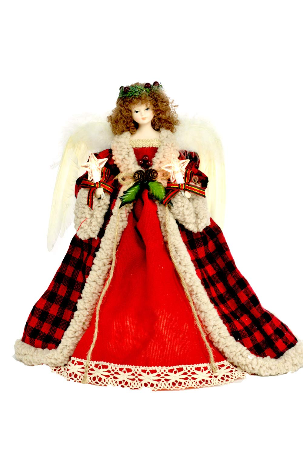 14 Fabric Red//Black 10 Lioght Angel Treetopper with Laurel Wreath