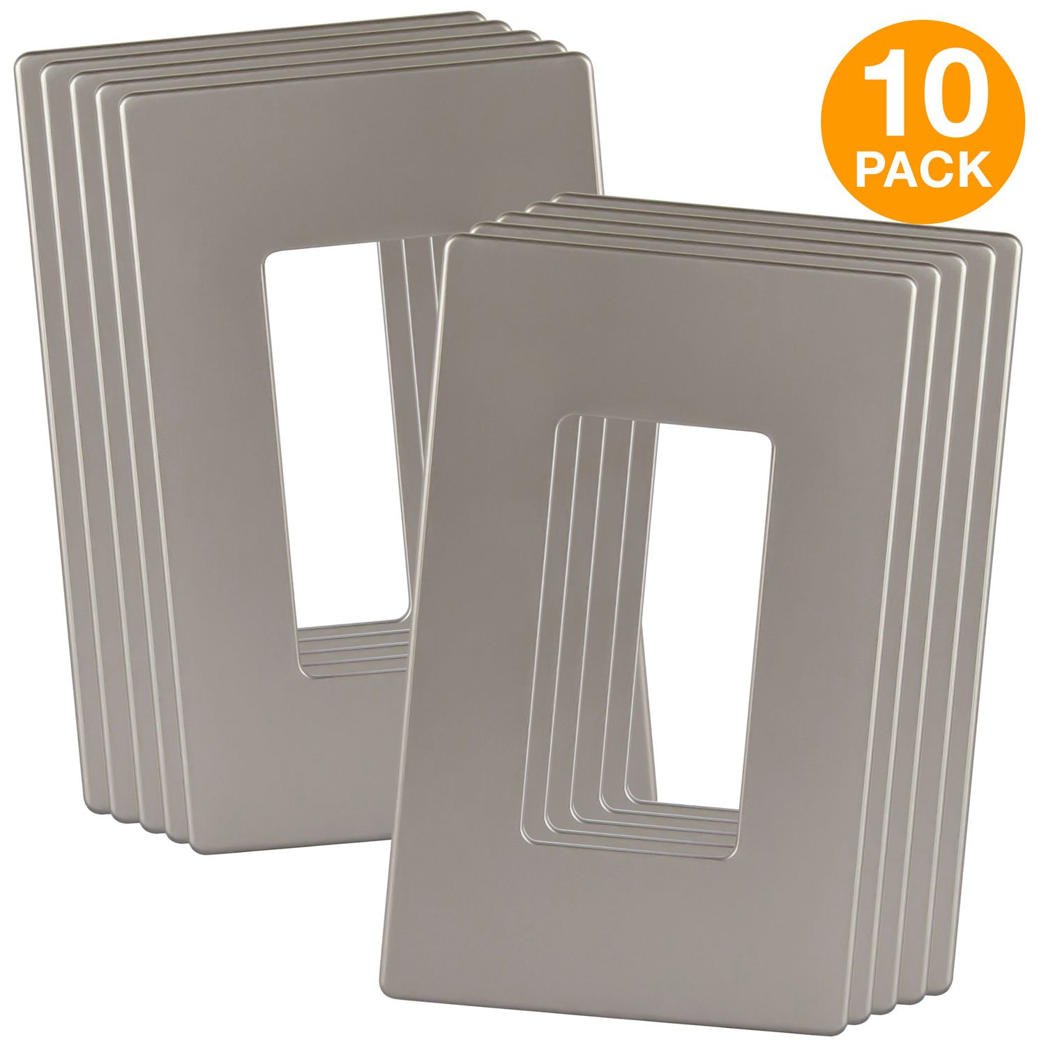 ENERLITES Elite Series Screwless Decorator Wall Plates Child Safe Outlet Covers, Size 1-Gang 4.68'' H x 2.93'' L, Unbreakable Polycarbonate Thermoplastic, SI8831-NK-10PCS, Nickel (10 Pack)
