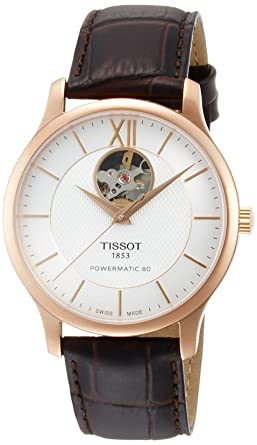 Tissot Tradition Automatic Open Heart T063.907.36.038.00 Silver Brown  Leather Analog Automatic c2aef11e0490