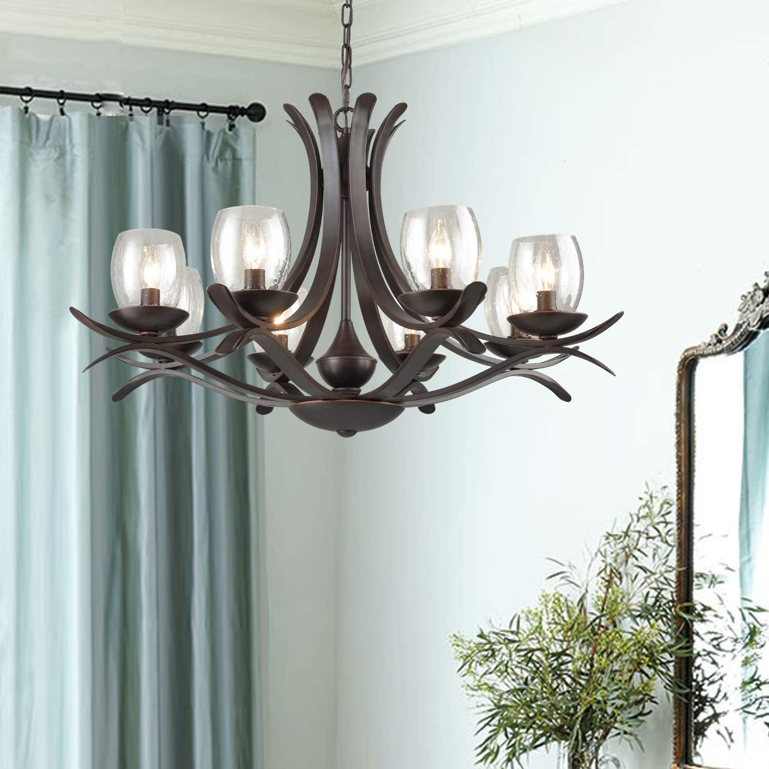 AXILAND Industrial Retrol Pendant Lighting 8-Light Chandeliers Wrought Iron Candle Hanging Lamp