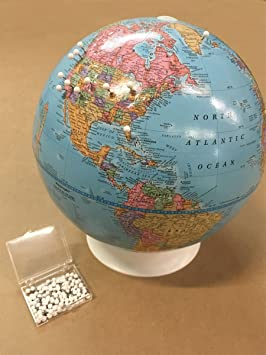 Academia Maps PushPin Globe Mark Your Travels Diameter - World map to mark your travels