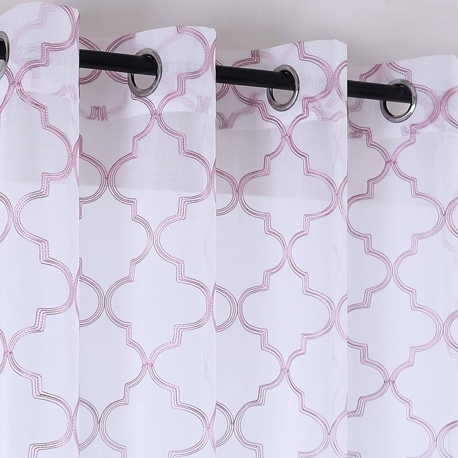 KEQIAOSUOCAI Rose Pink Moroccan Tile Embroidered on White Semi Sheer Curtains for Kids Room Girls Room Faux Linen Voile with Grommet 54 inches Length Set of 2 Panels Pink Rose Gold Pattern