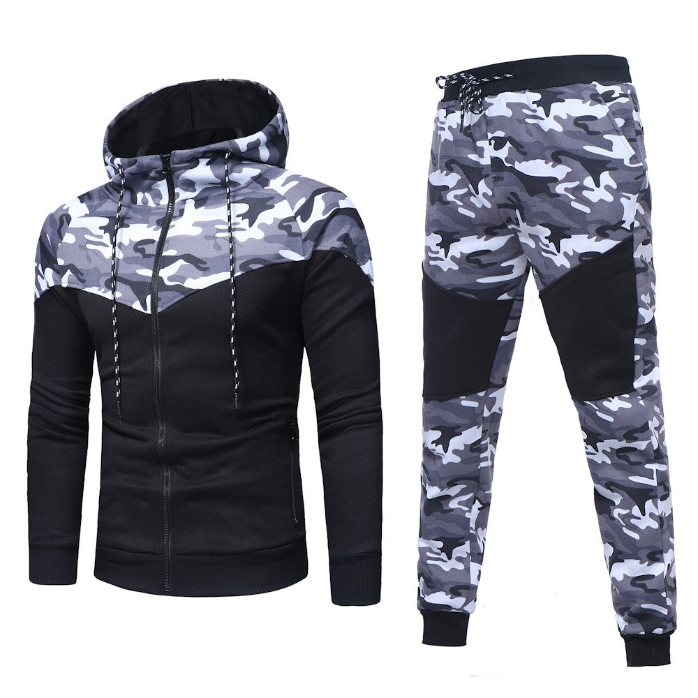 HOMEBABY Men Sports Camouflage Hooded Sweatshirt Pants Sets, Tracksuit Casual T-Shirt Tops Gym Yoga Workout Running Pants 2 Piece Outfit Sport Wear Suit Sweatpants