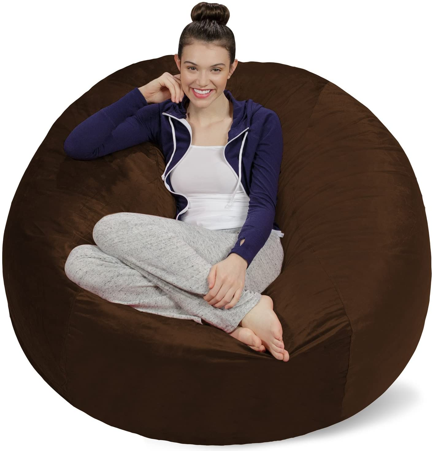 Memory Foam Beanless Bag Chair with Microsuede Cover Foam Filled Furniture for Dorm Room Sofa Sack Adults Chocolate 5 Plush Ultra Soft Bean Bags Chairs for Kids Teens
