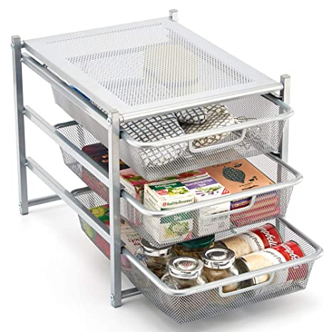 EZOWare 3 Tier Pull Out Organizer Cabinet Sliding Drawers for Bathroom,  Office, Countertop, Pantry, k-Cups, Under The Sink, and Kitchen - Silver