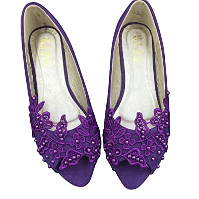 27ad875cf865 Women s Bridal Evening Party Lace Crystals Open Toe Ballet Flats Shoes (4M)  Purple