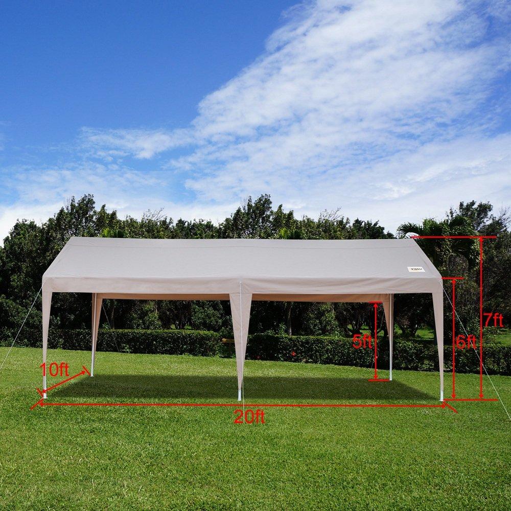 VINGLI 10 x 20 Heavy Duty Domain Carport, al aire libre coche parque refugio con borde, 250 G poliéster cubierta de tela protección UV impermeable, ...