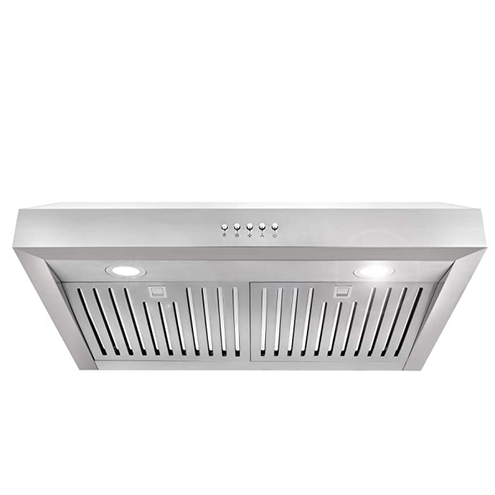 Cosmo UC30 30-in Under-Cabinet Range Hood 760-CFM with Ducted / Ductless Convertible Duct , Kitchen Over Stove Vent Light , 3 Speed Exhaust Fan , Dishwasher-Safe Permanent Filter ( Stainless Steel )