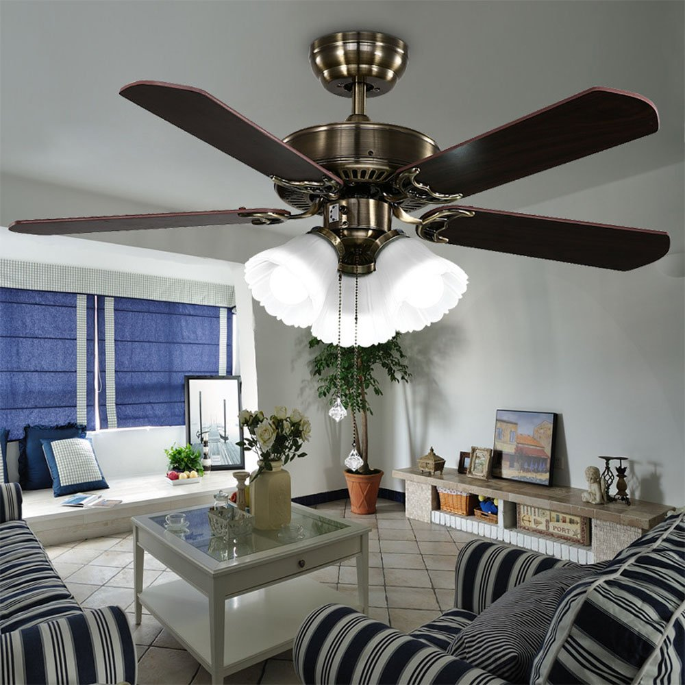 Huston Fan Modern Simple 42-inch Ceiling Fan Lamp Living Room Home LED Llights Ceiling Fan Chandelier Bronze Fan