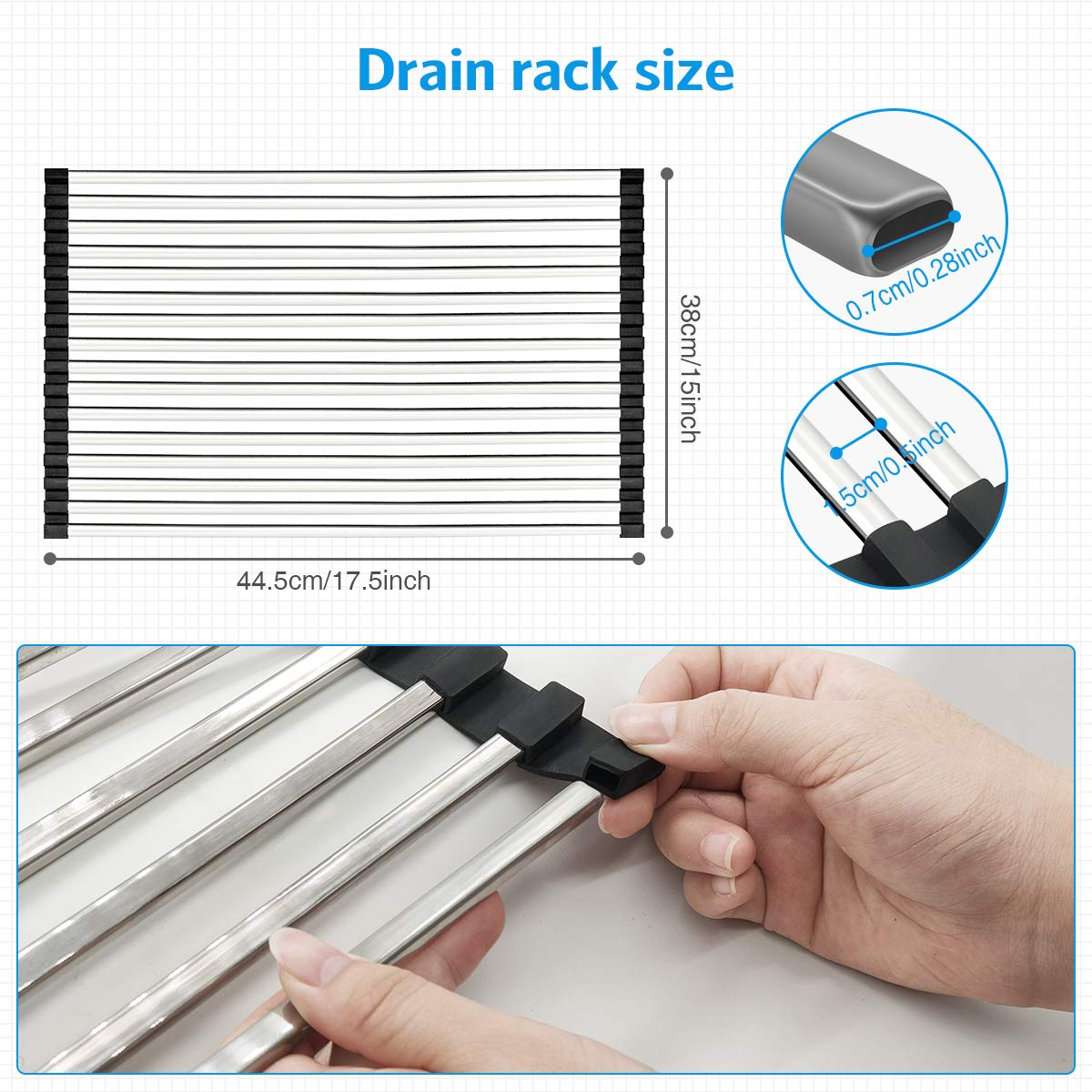 """27.5/""""- 33.5/"""" Over Sink Dish Rack Large Dish Drainer Shelf with Utensil Holder G-TING Expandable Dish Drying Rack Over the Sink Kitchen Stainless Steel Storage Rack Space Saver Display Stand"""