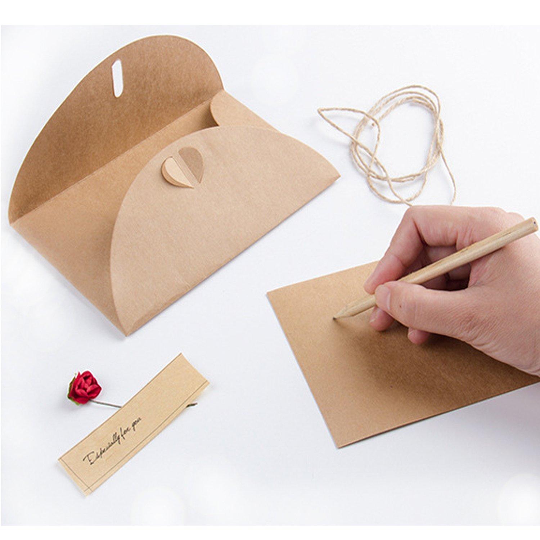 Compleanno Natale Inviti Lettera ZWOOS 9PCS Biglietto di Auguri Buste Cartolina Retro Carta Kraft Vuote Fatti a Mano Fiori Secchi Fai da Te per Auguri di Matrimonio