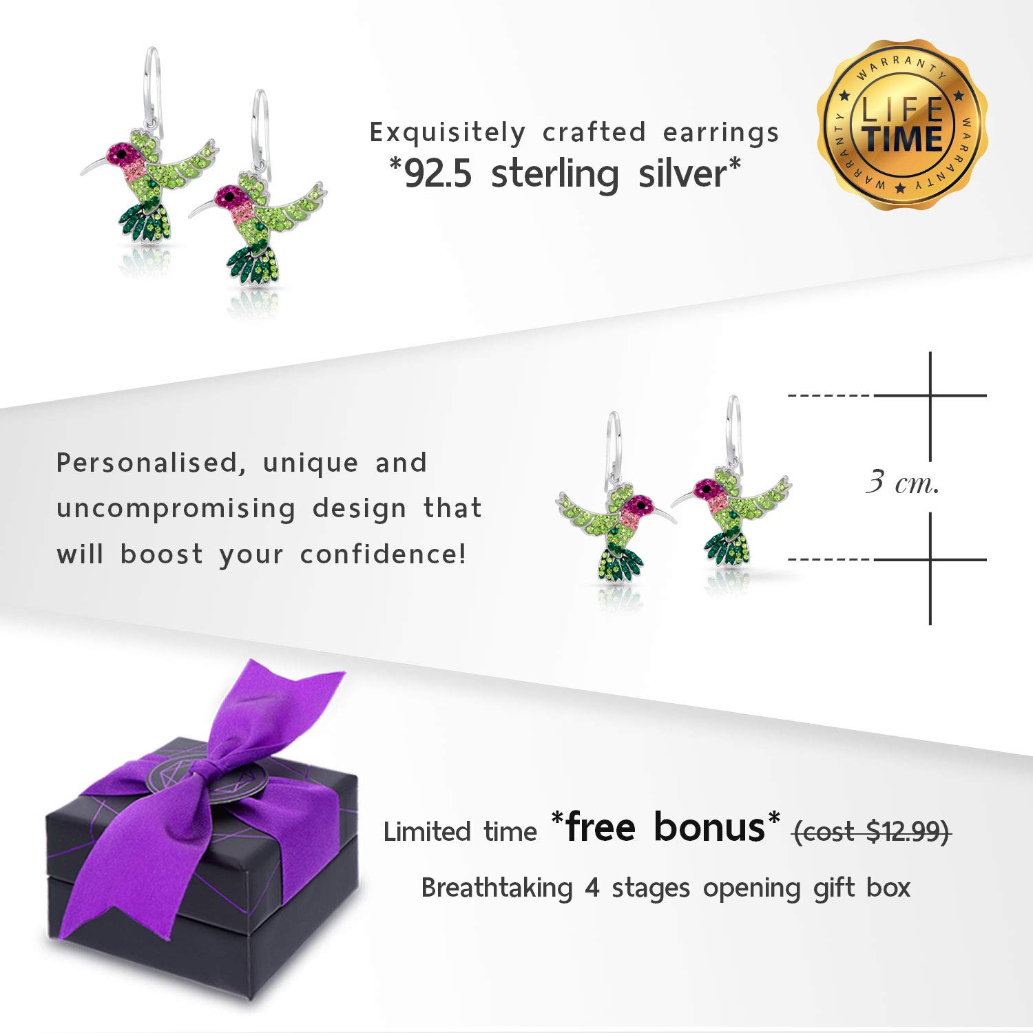 Colorful Flying Hummingbird Crystal Earrings Never Rust 925 Sterling Silver with Hypoallergenic Hooks For Women Girls with Free Breathtaking Gift Box for The Miracle of Living